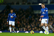James McCarthy of Everton (r) in action. Premier league match, Everton v Manchester Utd at Goodison Park in Liverpool, Merseyside on New Years Day, Monday 1st January 2018.<br /> pic by Chris Stading, Andrew Orchard sports photography.