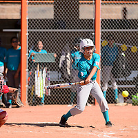 Shinae Sam batting for Turquoise Nation in the first round of the Little League State Softball Tournament at Gallup High School, Friday July 6.