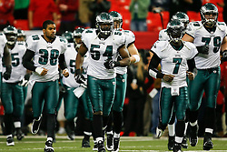 Philadelphia Eagles linebacker Jeremiah Trotter #54 enters the field before the NFL game between the Philadelphia Eagles and the Atlanta Falcons on December 6th 2009. The Eagles won 34-7 at The Georgia Dome in Atlanta, Georgia. (Photo By Brian Garfinkel)