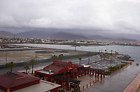 """(Image seven of nine) Panorama of the Ensenada harbor in Mexico on a grey and raining day from the deck of the MV World Odyssey. The other cruse ship is the Carnival Imagination. Once all of the students, faculty, staff, and life long learners were aboard we would be ready to begin the 102 day """"round the world"""" Semester at Sea Spring 2016 Voyage. Composite of nine images taken with a Leica T camera and 23 mm f/2 lens (ISO 250, 23 mm, f/2, 1/80 sec). Panorama stitched using AutoPano Giga Pro."""