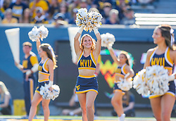 Sep 11, 2021; Morgantown, West Virginia, USA; A West Virginia Mountaineers cheerleader performs during the first quarter against the Long Island Sharks at Mountaineer Field at Milan Puskar Stadium. Mandatory Credit: Ben Queen-USA TODAY Sports