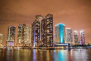 Downtown Miami at night, viewed from Biscayne Bay.