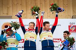 February 24, 2019 - Seefeld In Tirol, AUSTRIA - 190224 Gold medalists Johannes HÂ¿sflot Kl¾bo and Emil Iversen of Norway at the flower ceremony after the men's team sprint during the FIS Nordic World Ski Championships on February 24, 2019 in Seefeld in Tirol..Photo: Joel Marklund / BILDBYRN / kod JM / 87889 (Credit Image: © Joel Marklund/Bildbyran via ZUMA Press)