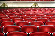 Nederland, Nijmegen, 8-3-2014 Een lege zaal, theaterzaal, concertzaal, met lege rode stoelen bekleed met rood textiel. Foto: Flip Franssen/Hollandse Hoogte