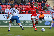 Charlton Athletic midfielder Joe Aribo (17) taking a shot during the EFL Sky Bet League 1 match between Charlton Athletic and Rochdale at The Valley, London, England on 4 May 2019.