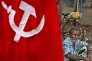 Hammer and Sickle flag in the street on 28th February 2018 in Kochi, Kerala, India. Today the largest political party in Kerala politics is the Communist Party of India Marxist.
