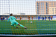 GOAL 0-1 Hull City forward Hull City forward Josh Magennis (27) scores during the EFL Sky Bet League 1 match between AFC Wimbledon and Hull City at Plough Lane, London, United Kingdom on 27 February 2021.