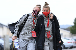 Jasmine Matthews of Bristol City Women and Yana Daniels of Bristol City Women arrives at Twerton Park prior to kick off - Mandatory by-line: Ryan Hiscott/JMP - 18/10/2020 - FOOTBALL - Twerton Park - Bath, England - Bristol City Women v Birmingham City Women - Barclays FA Women's Super League