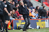 José Riga, the Charlton Athletic manager reacts after Charlton missing a chance to score.Skybet football league championship match, Charlton Athletic v Brighton & Hove Albion at The Valley  in London on Saturday 23rd April 2016.<br /> pic by John Patrick Fletcher, Andrew Orchard sports photography.
