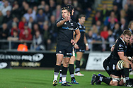 Rhys Webb of the Ospreys. Guinness Pro14 rugby match, Ospreys v Scarlets at the Liberty Stadium in Swansea, South Wales on Saturday 7th October 2017.<br /> pic by Andrew Orchard, Andrew Orchard sports photography.