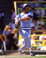 CHICAGO - 1987:  Willie Upshaw of the Toronto Blue Jays bats during an MLB game versus the Chicago White Sox during the 1987 season at Comiskey Park in Chicago, Illinois. (Photo by Ron Vesely) Subject:   Willie Upshaw