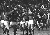 John (JJ) Williams celebrates after scoring the first of his two tries for the Lions, with Phil Bennett (far left), Bobby Windsor and Gareth Edwards. South Africa v British Lions, 9-26, third Test, Port Elizabeth, 13/7/1974. Credit: Colorsport / Colin Elsey