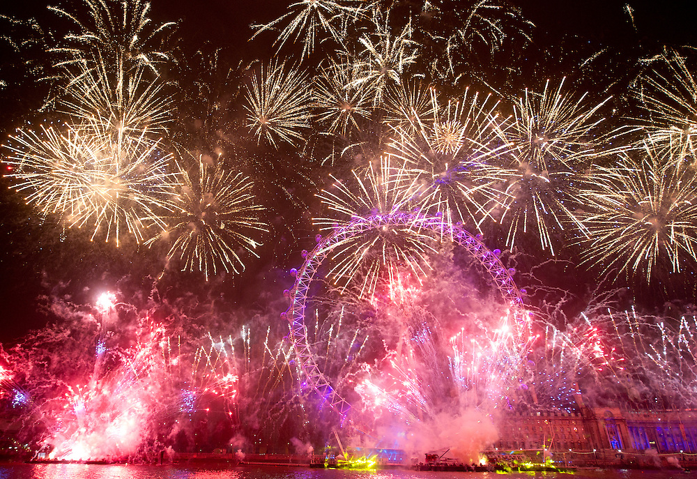 Fireworks at the London Eye, during the New Year's celebrations, in London.