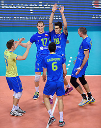 Jani Kovacic, Tine Urnaut, Klemen Cebulj during volleyball match between National teams of Netherlands and Slovenia in Playoff of 2015 CEV Volleyball European Championship - Men, on October 13, 2015 in Arena Armeec, Sofia, Bulgaria. Photo by Ronald Hoogendoorn / Sportida