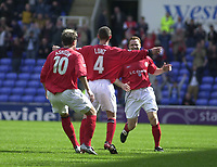 Photo:Alan Crowhurst.<br /> READING V CREWE, Nationwide Division One,17/04/2004.Kenny Lunt celebrates his goal for Crewe.