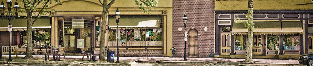 Panoramic of Moravian Bookstore Bethlehem Pennsylvania, Lehigh Valley