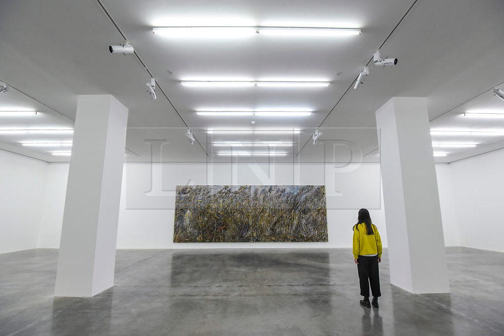 "© Licensed to London News Pictures. 14/11/2019. LONDON, UK. A staff member views ""Right Wing, Left Wing"", 2019, by Anselm Kiefer at the preview of a new exhibition called ""Superstrings, Runes, The Norns, Gordian Knot"" by Anselm Kiefer.  The works include large scale paintings and installations that draw on the scientific concept of string theory and are on display at the White Cube Gallery in Bermondsey 15 November to 26 January 2020.  Photo credit: Stephen Chung/LNP"