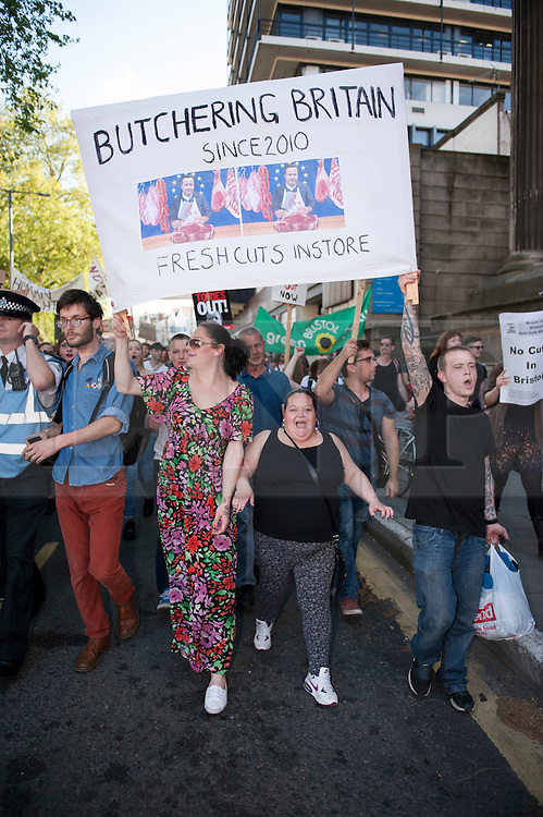 © Licensed to London News Pictures.  13/05/2015. Bristol, UK.  Demonstration and march in Bristol city centre protesting against austerity and the £12 billion cuts planned in welfare benefits by the new Conservative government following the general election.  Photo credit : Simon Chapman/LNP