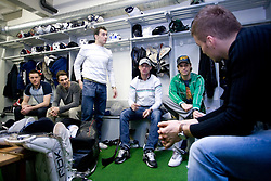 Jan Urbas, Ziga Pance, Bostjan Golicic, Anze Ropret,  Ales Sila and Andrej Hocevar at first practice of Slovenian National Ice hockey team before World championship of Division I - group B in Ljubljana, on April 5, 2010, in Hala Tivoli, Ljubljana, Slovenia.  (Photo by Vid Ponikvar / Sportida)