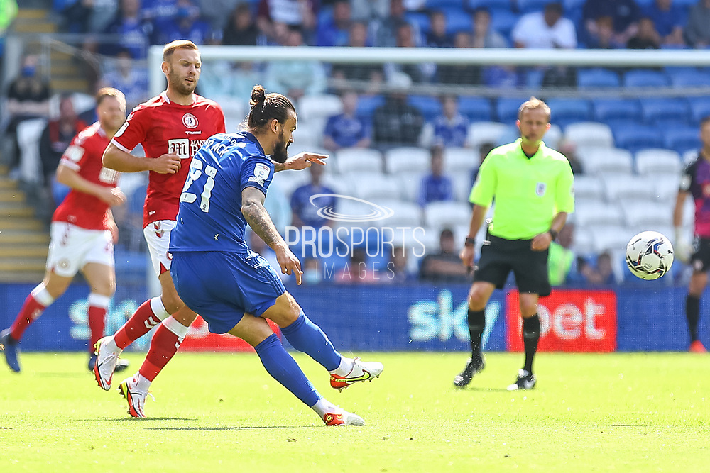 Cardiff City midfielder Marlon Pack (21) clears the ball during the EFL Sky Bet Championship match between Cardiff City and Bristol City at the Cardiff City Stadium, Cardiff, Wales on 28 August 2021.
