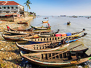 10 NOVEMBER 2014 - SITTWE, MYANMAR: Boats on the beach in the market in Sittwe, Myanmar. Sittwe is a small town in the Myanmar state of Rakhine, on the Bay of Bengal.    PHOTO BY JACK KURTZ