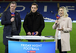 Sky Sports pundits Jamie Carragher (left) and Gary Neville with presenter Kelly Cates