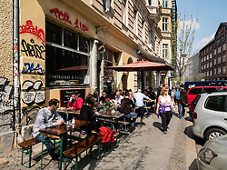 Outdoor street cafes and restaurants in Mitte district of Berlin Germany
