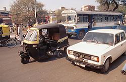 Car; bike; bus; and auto rickshaw stuck in traffic jam in Delhi; India,