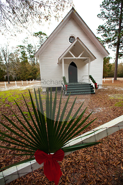 Sheldon Chapel, also known as the Prince William's Episcopal Church  in Yemassee, South Carolina decorated for christmas. The church dated to 1745 was dismantled and used to build bridges by Gen. Sherman during the civil war and rebuilt in 1898.