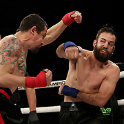 FORT LAUDERDALE, FL - FEBRUARY 15: Francesco Ricchi (R) and Fred Pierce exchange blows during the Bare Knuckle Fighting Championships at Greater Fort Lauderdale Convention Center on February 15, 2020 in Fort Lauderdale, Florida. (Photo by Alex Menendez/Getty Images) *** Local Caption *** Francesco Ricchi; Fred Pierce