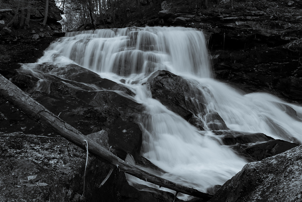 The roaring cascades at Doane's Falls seen on cold autumn afternoon in the woods of Central Massachusetts.