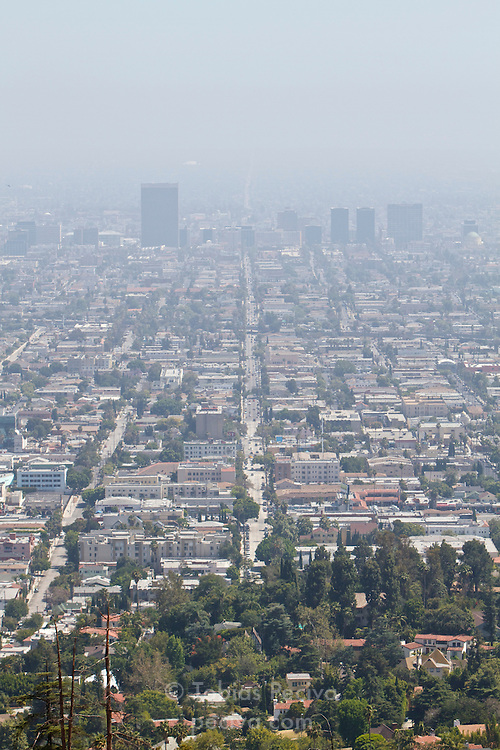 Smog restricts the view from Griffith Observatory along North Normandie Avenue, in Los Angeles, California.