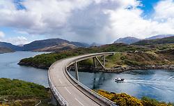 Kylesku Bridge on the North Coast 500 scenic driving route in Sutherland, Highland, northern Scotland, UK