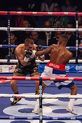 Scott Quigg V Youandris Salinas in their WBA World Boxing title clash at the O2 Arena in London's Docklands, promoted by Matchroom Boxing and shown live on Sky Sports.<br /> <br /> Originally scheduled to be on the Haye V Fury Undercard, the Salinas Quigg fight was rescheduled at short notice to feature on the Anthony Joshua bill at the O2 a week later. <br /> <br /> Result was a draw, but with Quigg having been elevated to champion status by the WBA, he effectively retained the World Championship belt.