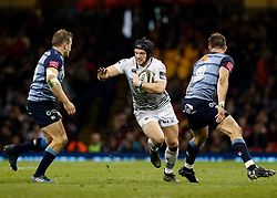 Ospreys' Dan Evans under pressure from  Cardiff Blues' Garyn Smith<br /> <br /> Photographer Simon King/Replay Images<br /> <br /> Guinness PRO14 Round 21 - Cardiff Blues v Ospreys - Saturday 28th April 2018 - Principality Stadium - Cardiff<br /> <br /> World Copyright © Replay Images . All rights reserved. info@replayimages.co.uk - http://replayimages.co.uk