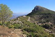 Mountain peaks landscape at Coll de Rates, Tàrbena, Marina Alta, Alicante province, Spain looking east