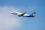 Alaska Airlines ERJ-175 takes off from Los Angeles International Airport (LAX) on Friday, February 28, 2020 in Los Angeles. (Brandon Sloter/Image of Sport)