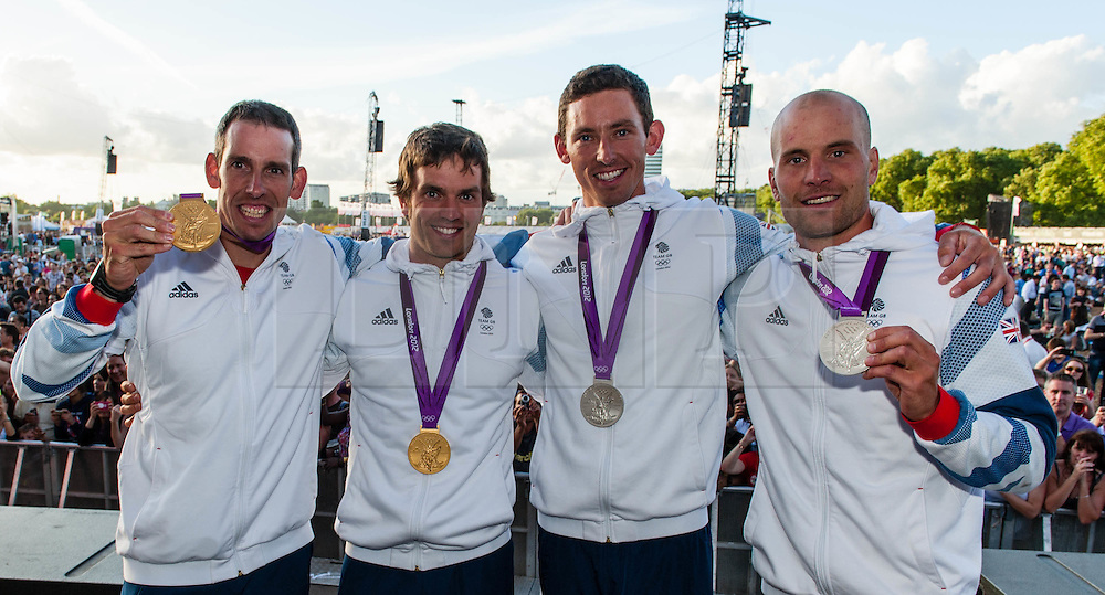 © Licensed to London News Pictures. 03/08/2012. London, UK. Etienne Stott, Tim Baillie, David Florence and Richard Hounslow of the Team GB Olympic Canoeing at BT London Live, Hyde Park.  Etienne Stott and Tim Baillie won Gold in the Canoe Slalom Double.  David Florence and Richard Hounslow won Silver in the Canoe Slalom Double.  Photo credit : Richard Isaac/LNP