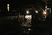 October 31, 2012- New York, NY: New Yorkers deal with Day 3 of blackout in lower Manhattan caused by Superstorm Sandy on Halloween October 31, 2012. The Superstorm Sandy has claimed 70 lives displaced millions and is estimated to have $50 billion in damages.   (Terrence Jennings) .