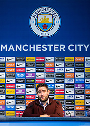 Bristol City Head Coach Lee Johnson takes part in the post match press conference at the Etihad Stadium after a late 2-1 loss for his side - Rogan/JMP - 09/01/2018 - Etihad Stadium - Manchester, England - Manchester City v Bristol City - Carabao Cup Semi Final First Leg.