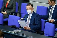 08 DEC 2020, BERLIN/GERMANY:<br /> Jens Spahn, CDU, Bundesgesundheitsminister, mit Maske, Haushaltsdebatte, Plenum, Reichstagsgebaeude, Deuscher Bundestag<br /> IMAGE: 20201208-02-028<br /> KEYWORDS: Mund-Nase-Schutz, Corona, Corvid-19, Mundschutz