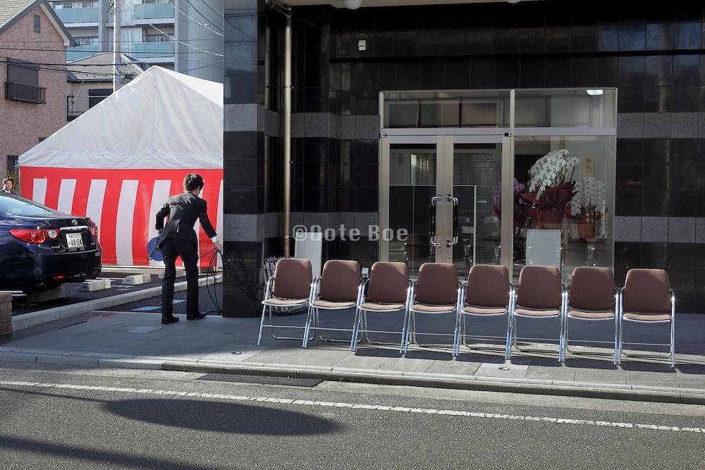 preparing for a new building delivery formal ceremony, Shinchikuiwai, in Yokosuka Japan