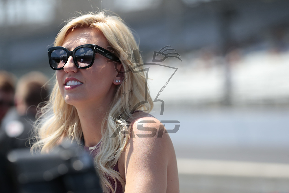 Courtney Force, wife of GRAHAM RAHAL (15) of the United States shows her support as he prepares to qualify for the Indianapolis 500 at Indianapolis Motor Speedway in Indianapolis, Indiana.
