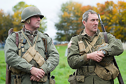 Re-enactors portrayiing a member of the 82nd All American Airborne Division during a battle battle re-enactment in on Pickering Showground<br /> <br /> 17/18 October 2015<br />  Image © Paul David Drabble <br />  www.pauldaviddrabble.co.uk