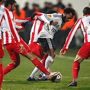 Besiktas's Manuel Fernandes (C) during their UEFA Europa League Round of 16, Second leg soccer match Besiktas between Atletico Madrid at Inonu stadium in Istanbul Turkey on Thursday March 15, 2012. Photo by TURKPIX