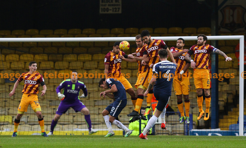 Anthony Wordsworth of Southend United hits a freekick over the wall during the Sky Bet League 1 match between Southend United and Bradford City at Roots Hall in Southend. November 19, 2016.<br /> Arron Gent / Telephoto Images<br /> +44 7967 642437