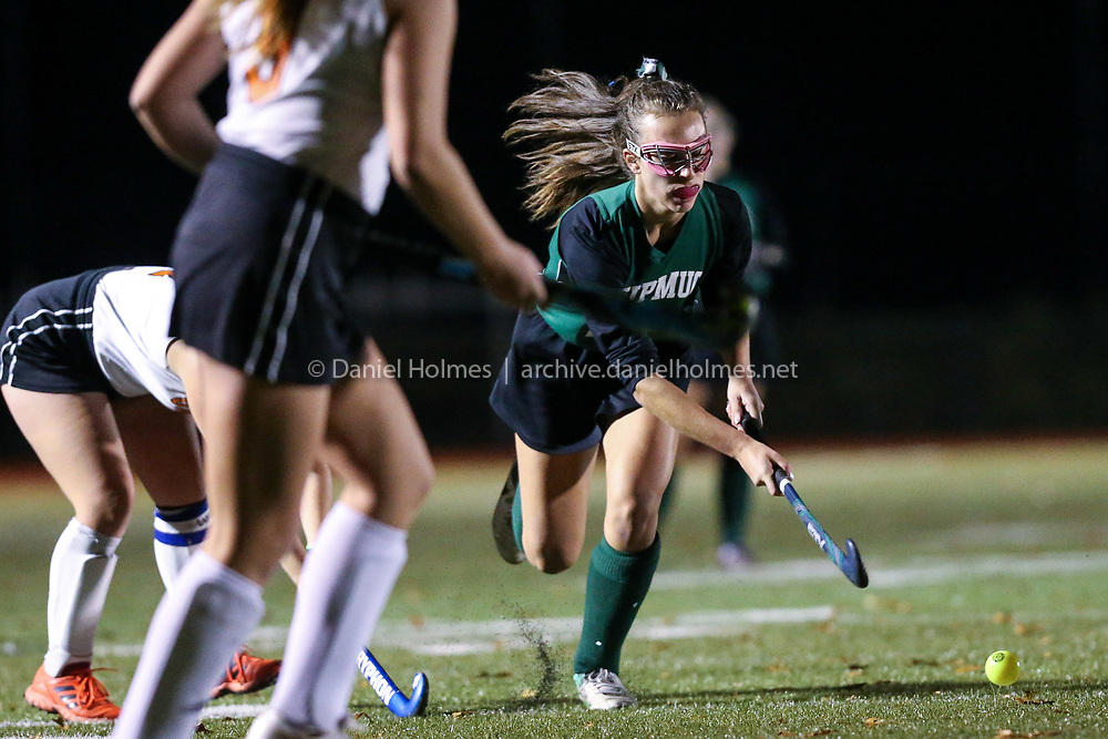 (11/8/18, GRAFTON, MA) Nipmuc's Michelle Cote takes the ball to the net during the Division 2 Central semifinals against Uxbridge  at Grafton High School on Thursday. [Daily News and Wicked Local Photo/Dan Holmes]