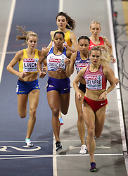 Great Britain's Shelayna Oskan-Clarke (centre) during the Women's 800m 2nd semi final during day two of the European Indoor Athletics Championships at the Emirates Arena, Glasgow.