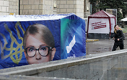 March 27, 2019 - Kiev, Kiev, Ukraine - Campaign tents of Ukrainian presidential candidates Yulia Tymoshenko and Ukrainian President Petro Poroshenko seen in down town Kiev, Ukraine. .The next Ukrainian presidential elections will take place on 31 March 2019. (Credit Image: © Pavlo Gonchar/SOPA Images via ZUMA Wire)