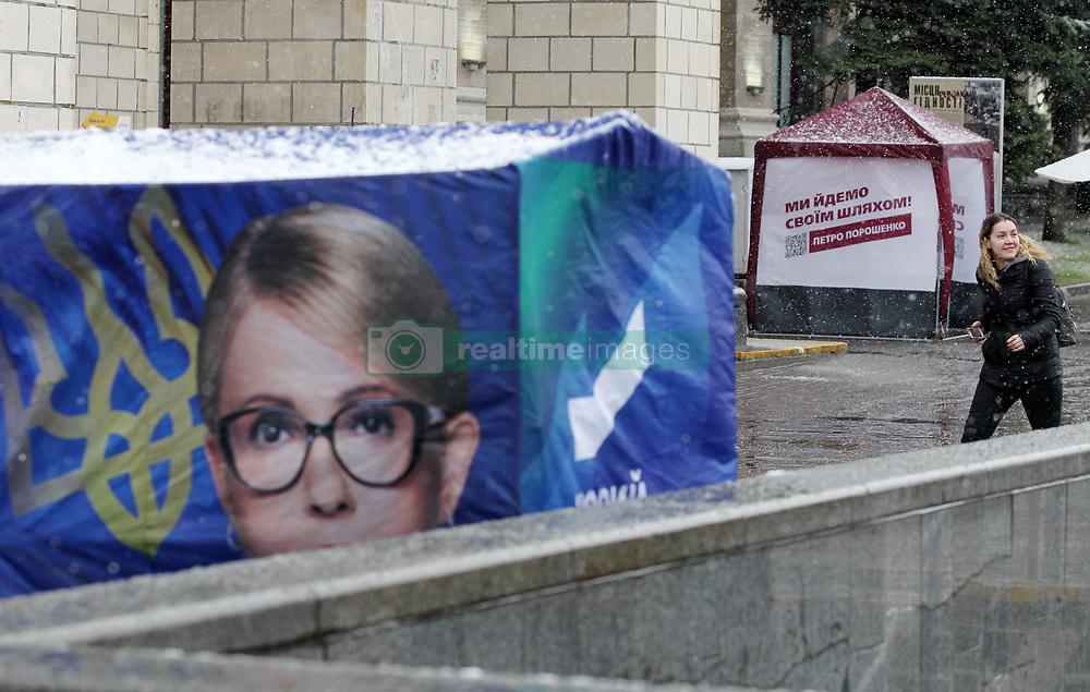 March 27, 2019 - Kiev, Kiev, Ukraine - Campaign tents of Ukrainian presidential candidates Yulia Tymoshenko and Ukrainian President Petro Poroshenko seen in down town Kiev, Ukraine. .The next Ukrainian presidential elections will take place on 31 March 2019. (Credit Image: © Pavlo Gonchar/SOPA Images via ZUMA Wire)